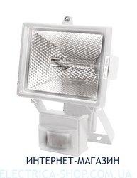 Прожектор под галогеновую лампу с датчиком движения Delux 500W цвет-белый IP54